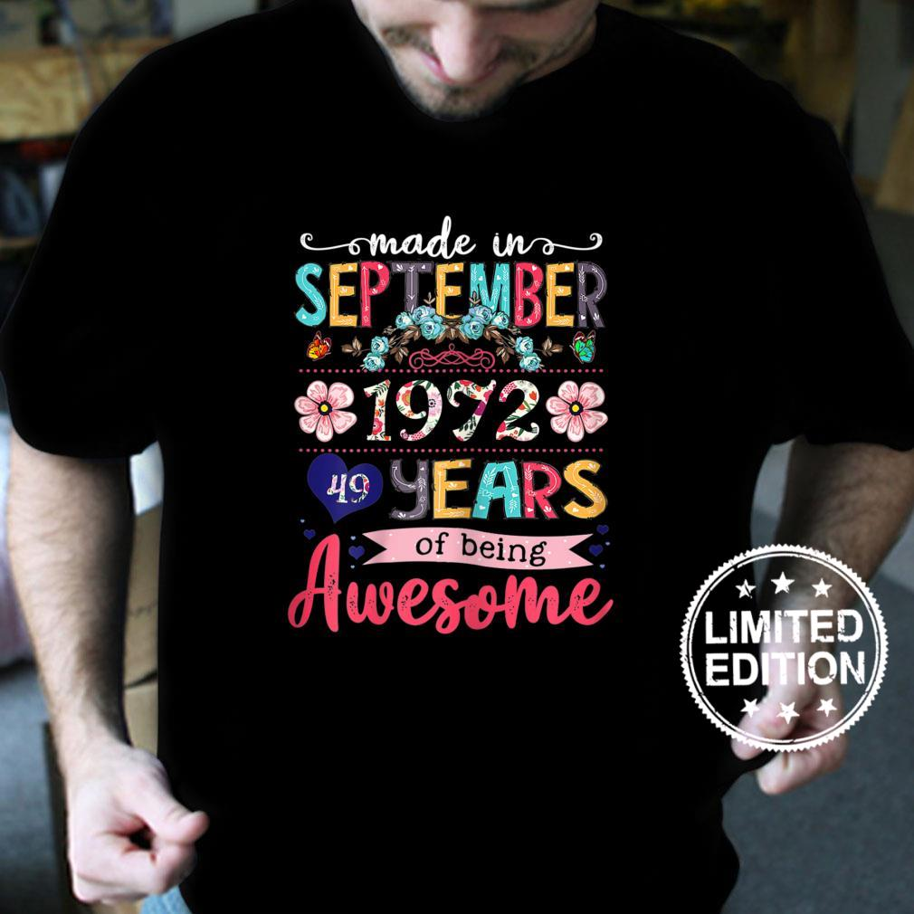 Womens 49th Birthday Floral For Girls Born In September 1972 Shirt