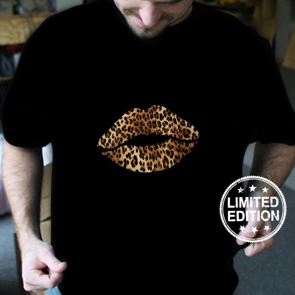 Womens Leopard Lips Trendy Kiss Mouth Cheetah Animal Print Shirt