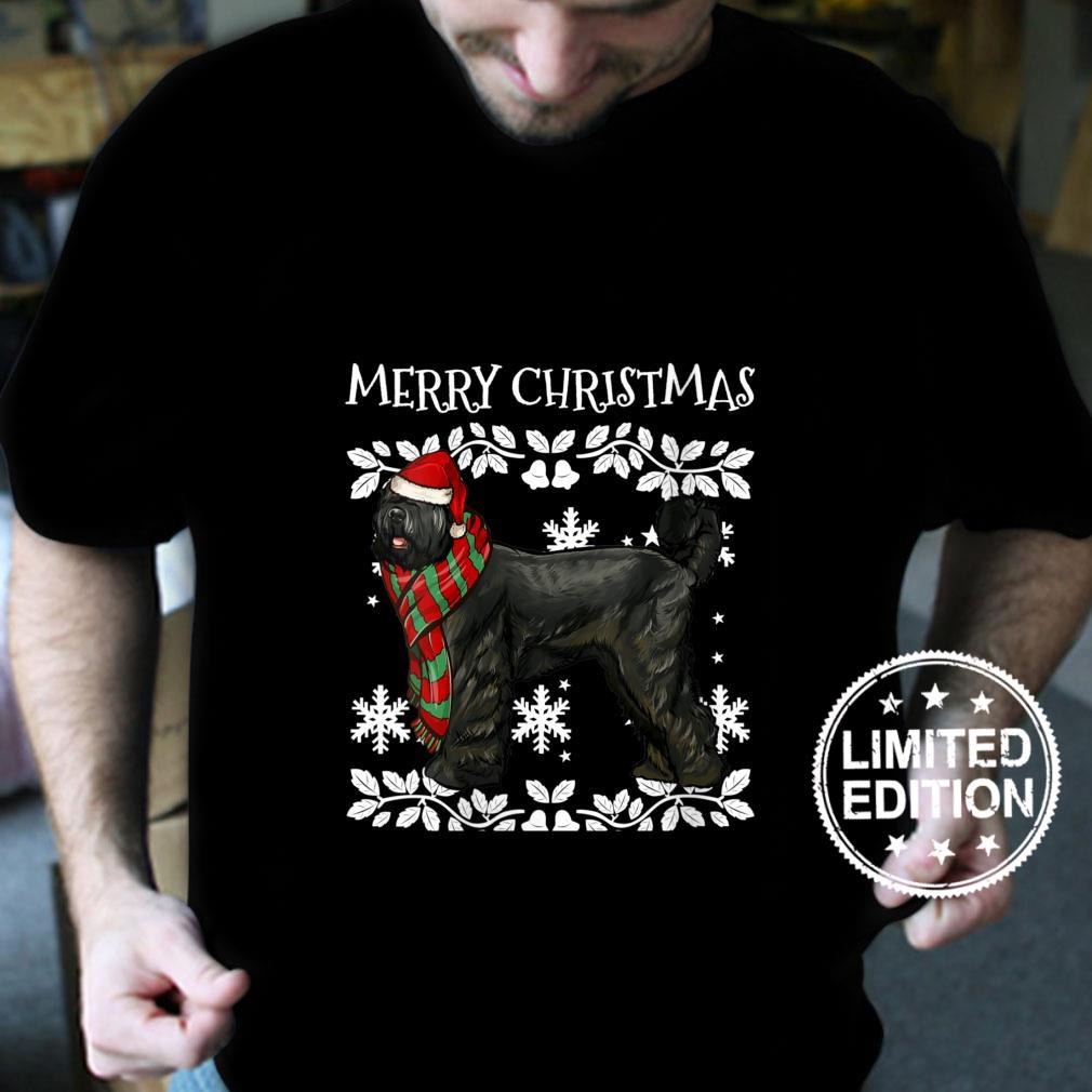 Womens Merry Christmas Ornament Black Russian Terrier Xmas Santa Shirt