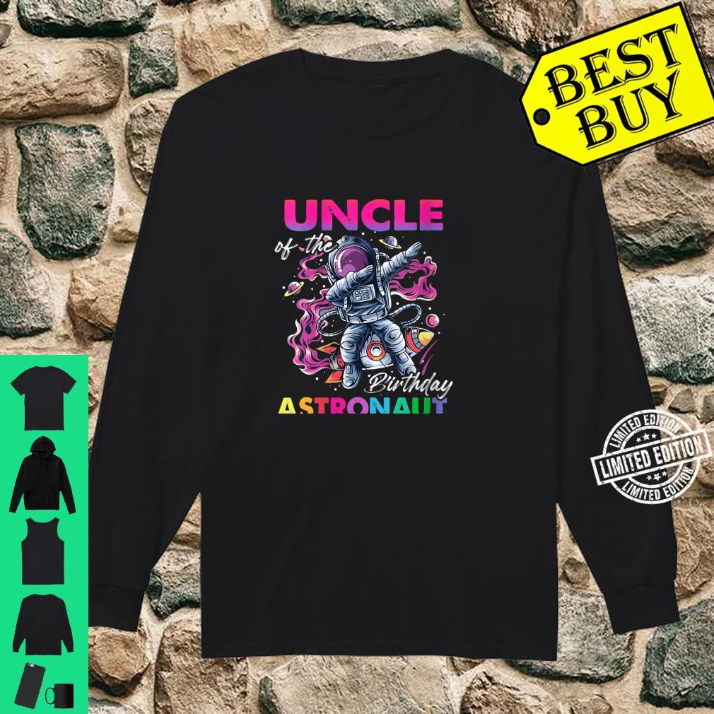 Womens Uncle Of The Birthday Astronaut Space Theme Shirt long sleeved