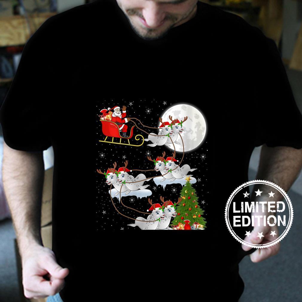 Womens Xmas Lighting Tree Santa Riding Sea Lion Christmas Shirt