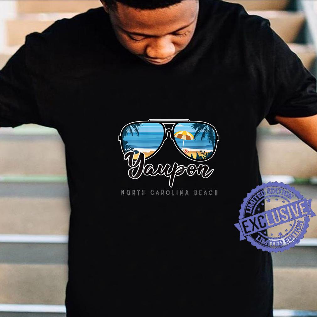 Womens Yaupon Beach North Carolina Palm Tree Sunglasses Souvenir Shirt