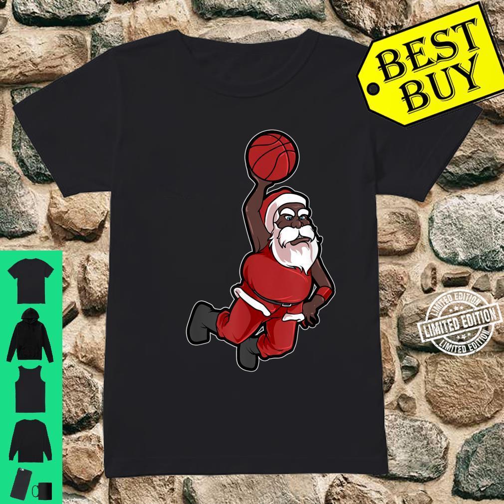 Christmas Basketball African American Santa Cute Shirt ladies tee