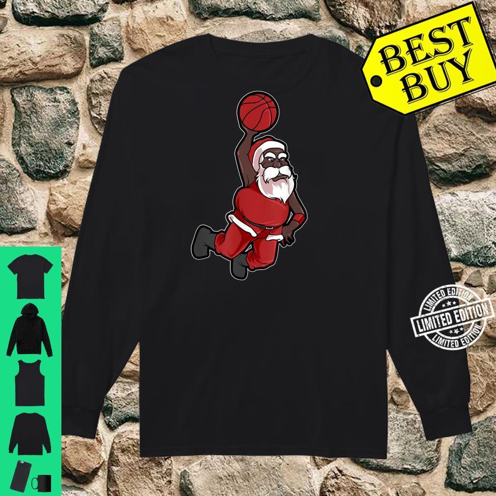 Christmas Basketball African American Santa Cute Shirt long sleeved