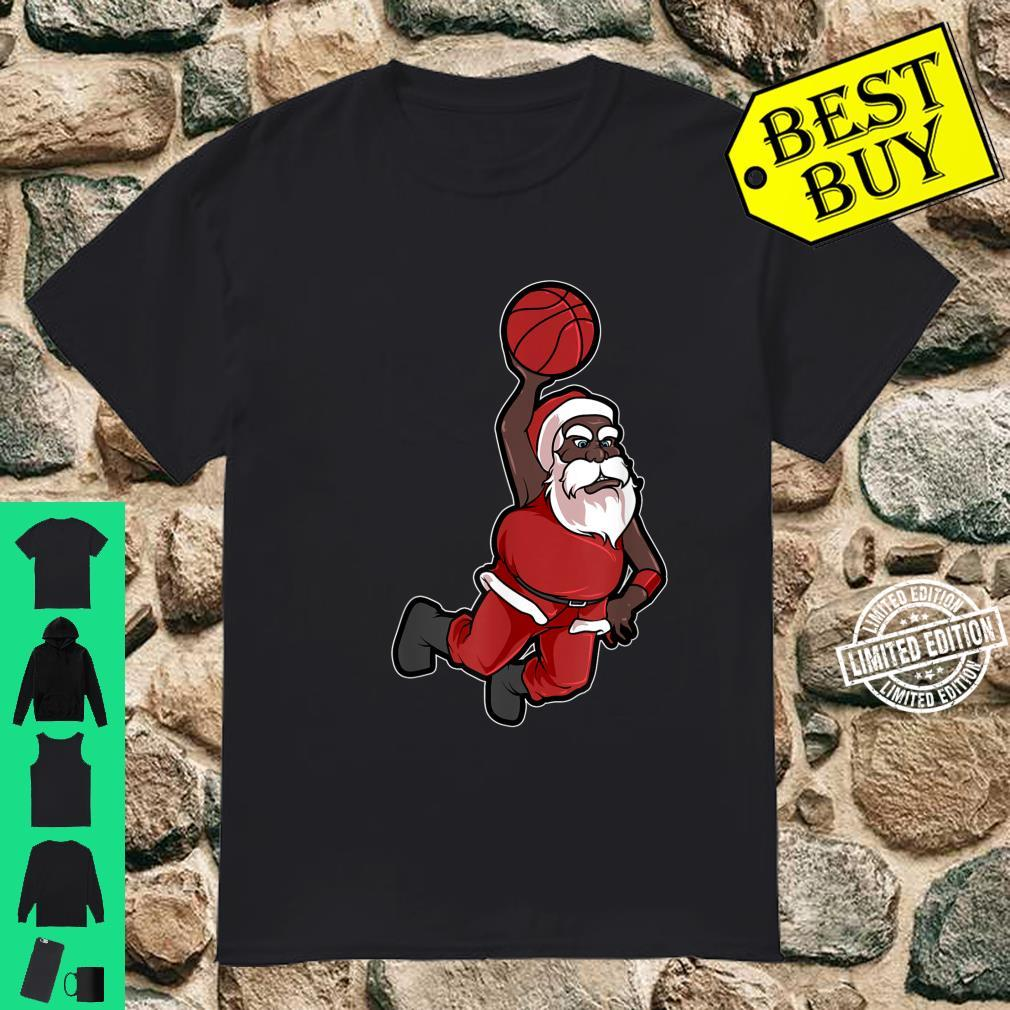 Christmas Basketball African American Santa Cute Shirt