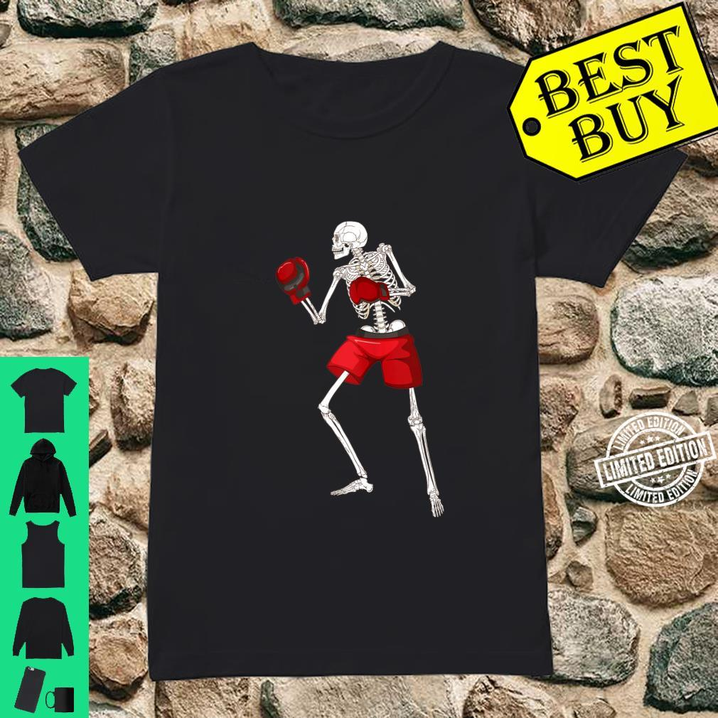 Funny Skeleton Boxing Scary Halloween Boxer Sports Shirt ladies tee