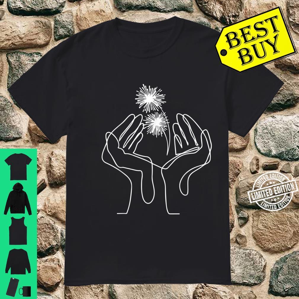 Hand Flower Line Art Abstract Minimalist Cool Novelty Shirt