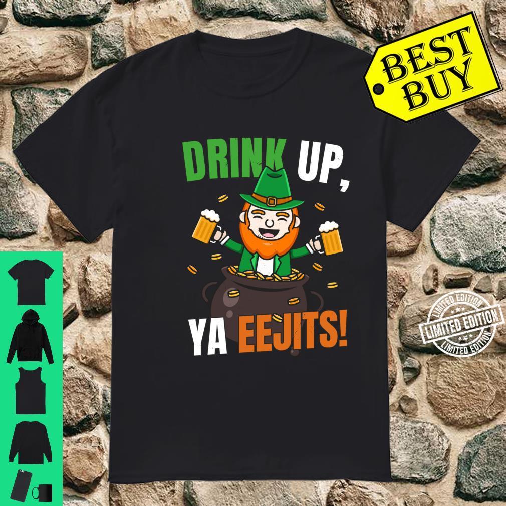 Leprechaun Saint Patrick's Day Drink Up Ya Eejits Shirt