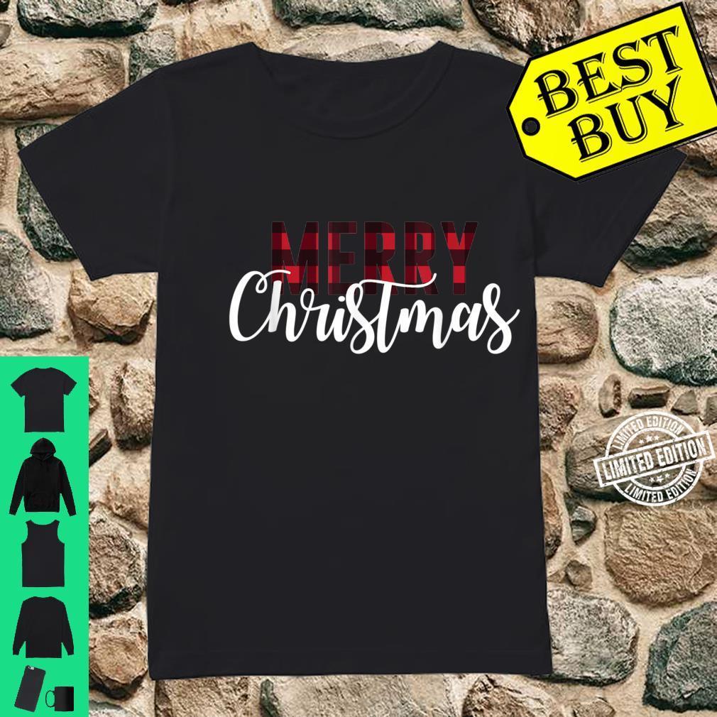 Merry Christmas Plaid Christmas Letter Printed Shirt ladies tee
