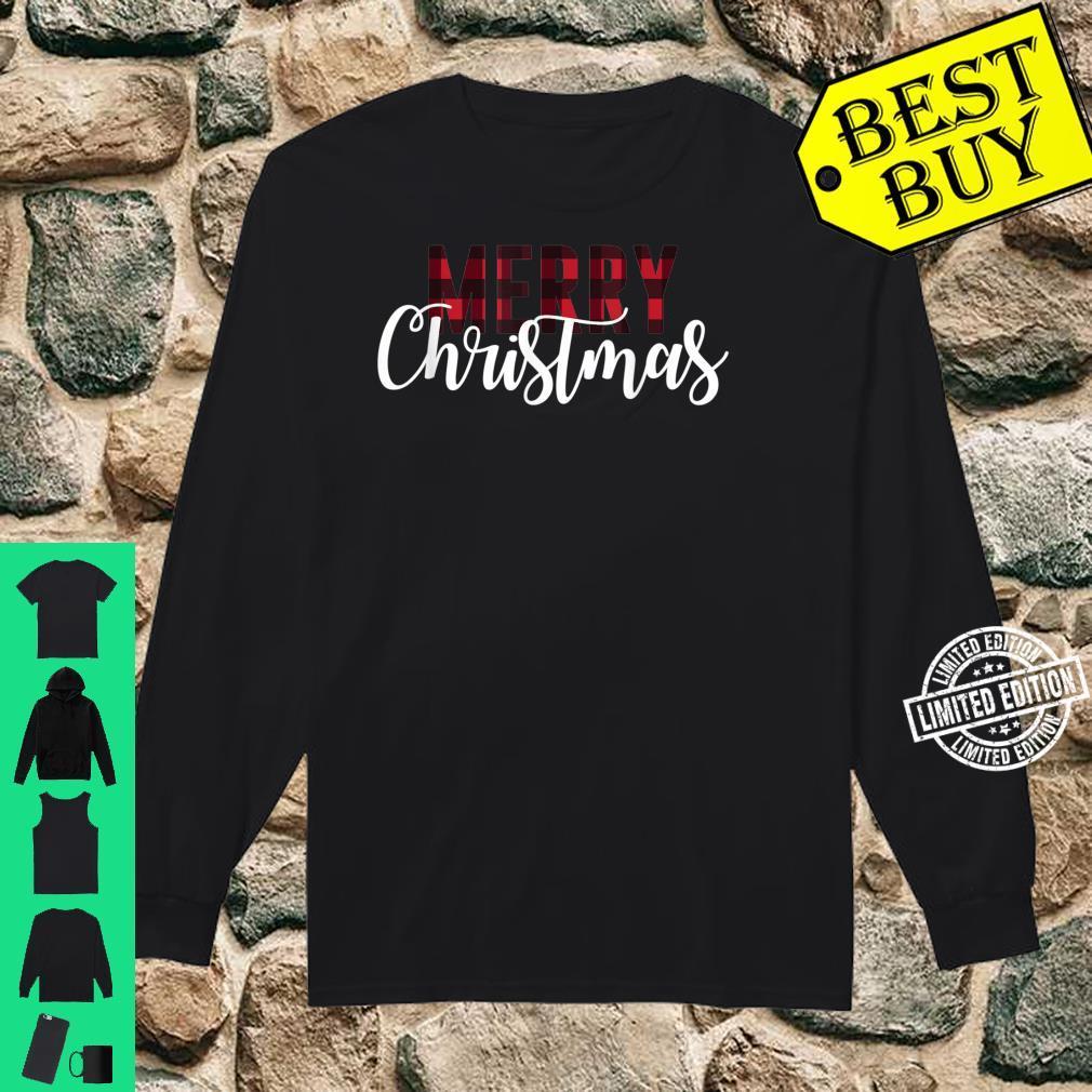 Merry Christmas Plaid Christmas Letter Printed Shirt long sleeved