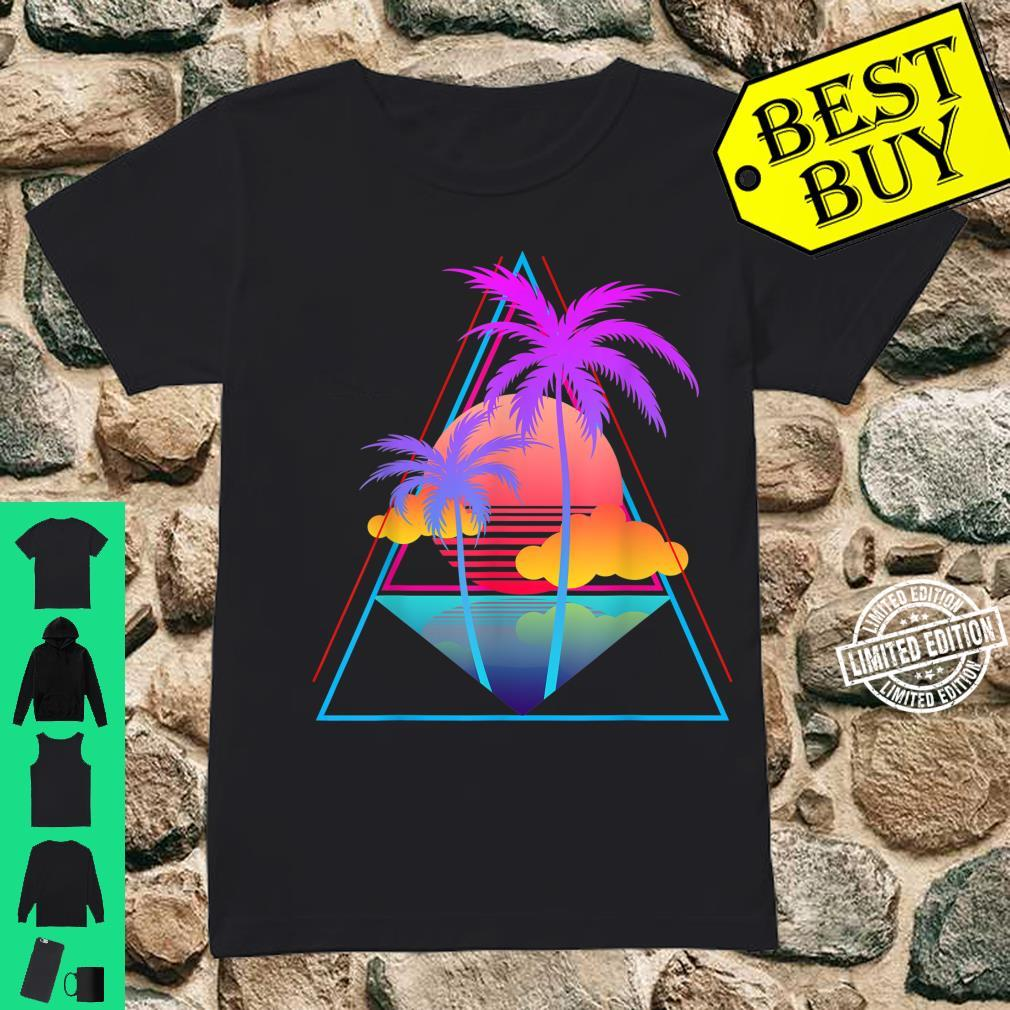 Retro 1980s 1990s Vaporwave Palm Trees Sunset Pastel Art Shirt ladies tee
