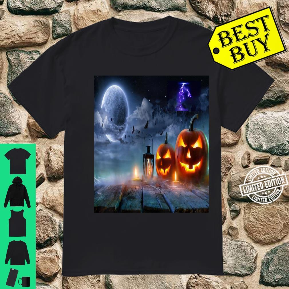 Scary Halloween Night Party Moon Lightning Shirt