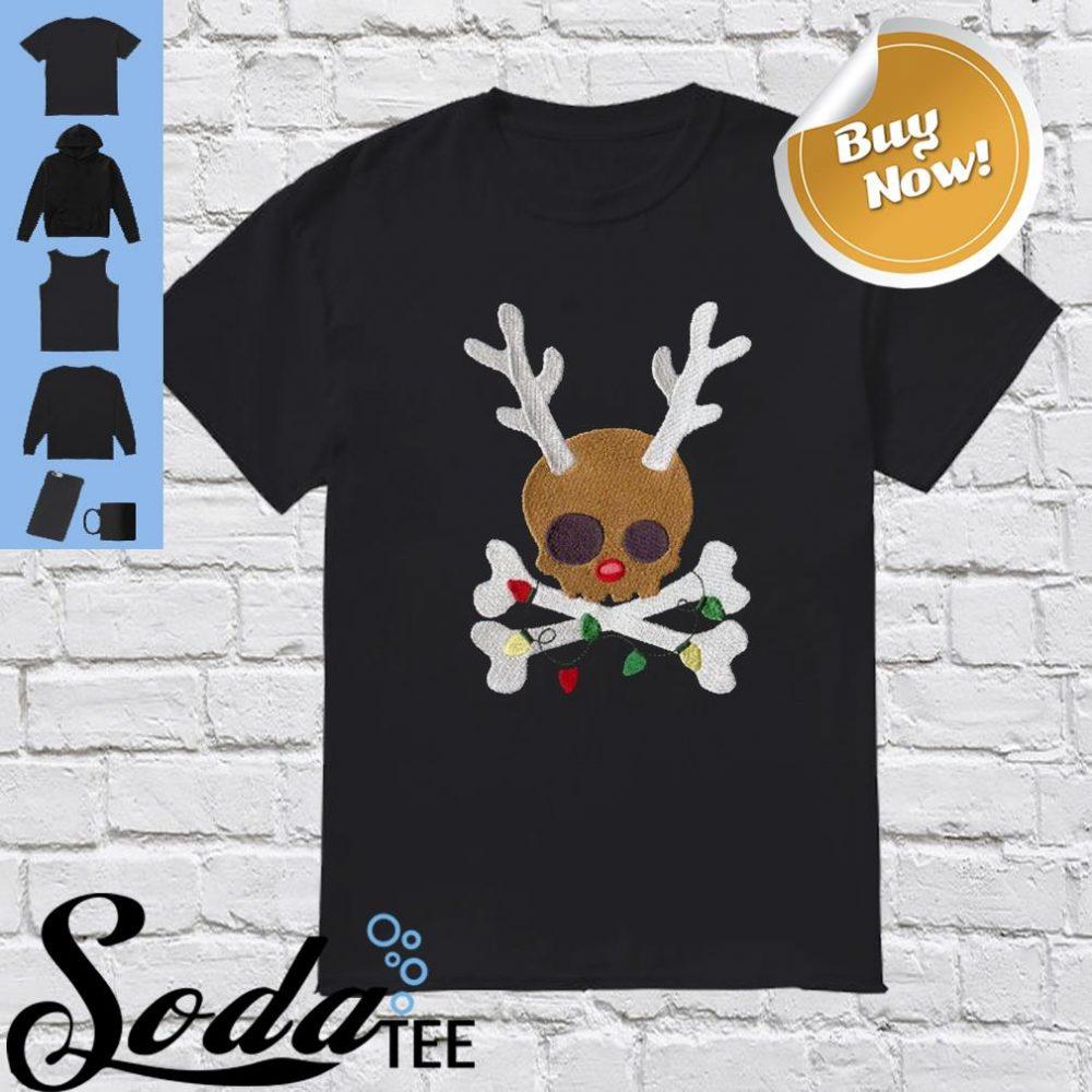 Skull Reindeer Christmas Light Shirt