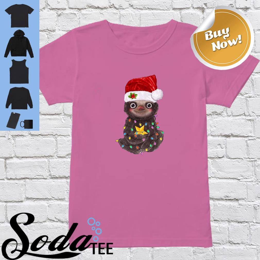 Sloth Santa Light Christmas Cute Shirt ladies tee