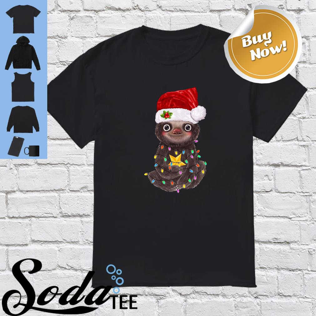 Sloth Santa Light Christmas Cute Shirt