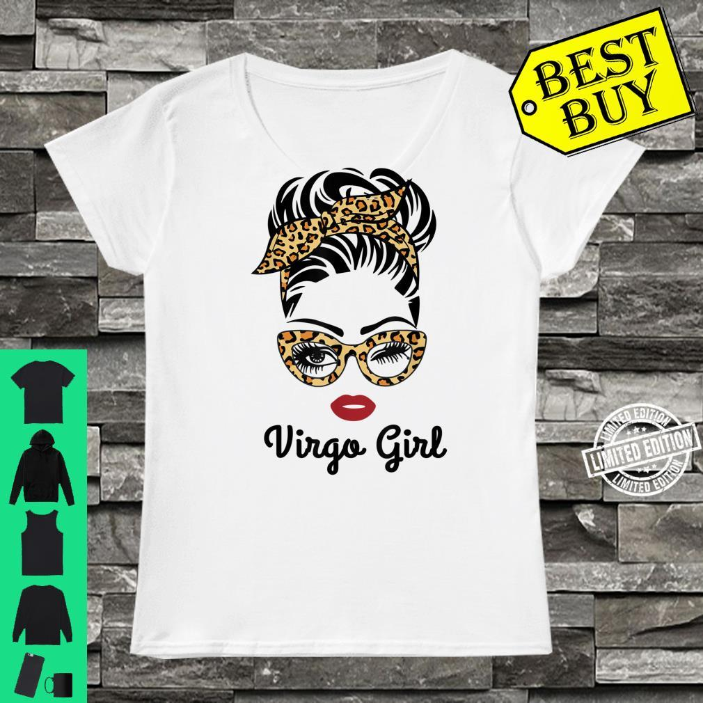 Virgo Girl Face Leopard Bandana Wink Eye Shirt ladies tee