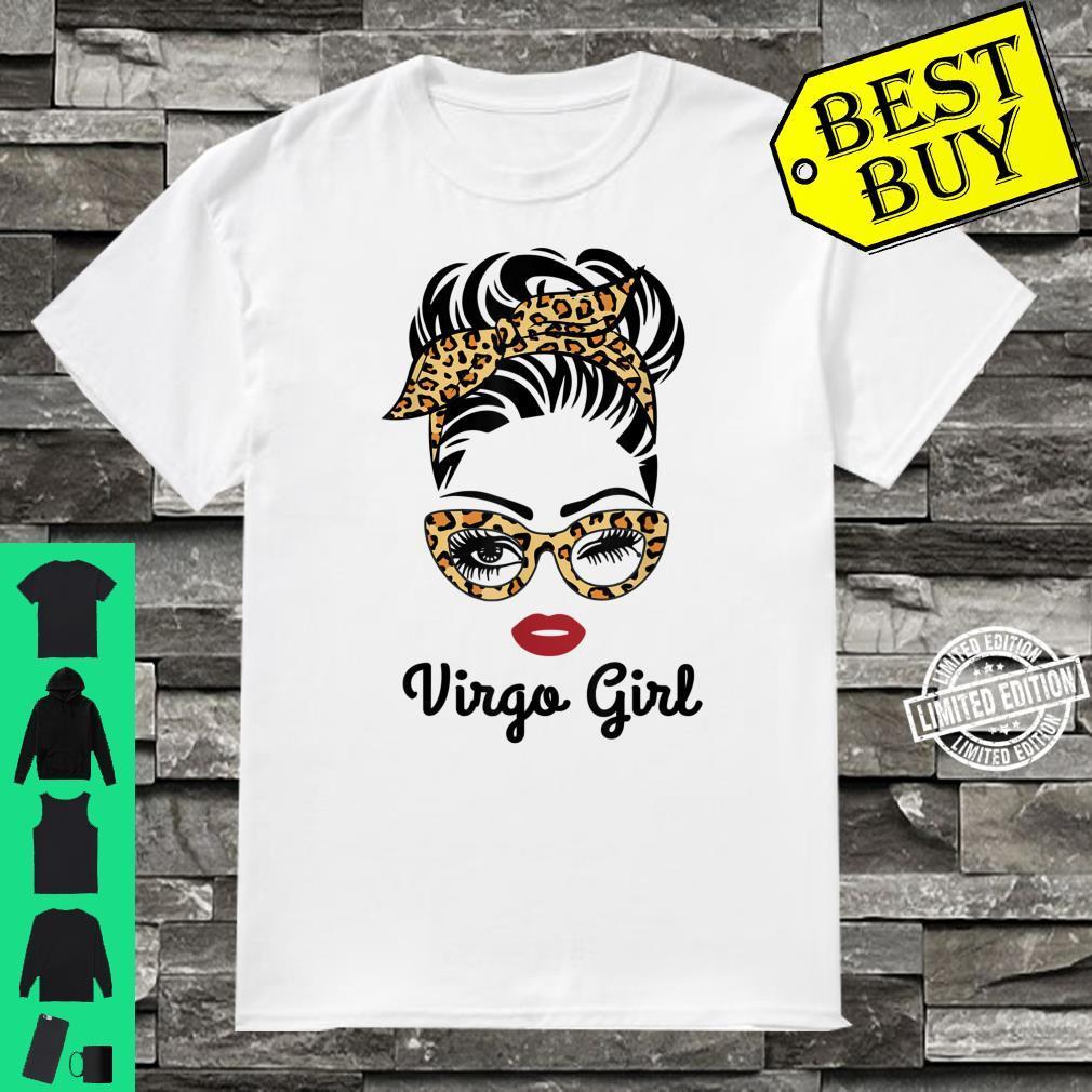 Virgo Girl Face Leopard Bandana Wink Eye Shirt