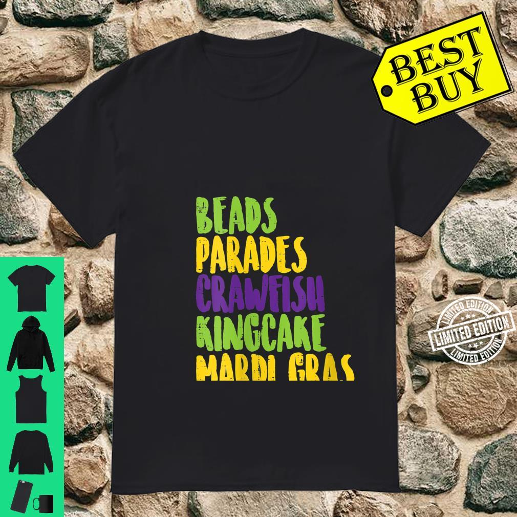 Womens Beads Parades Crawfish King Cake Mardi Gras Carnival Shirt