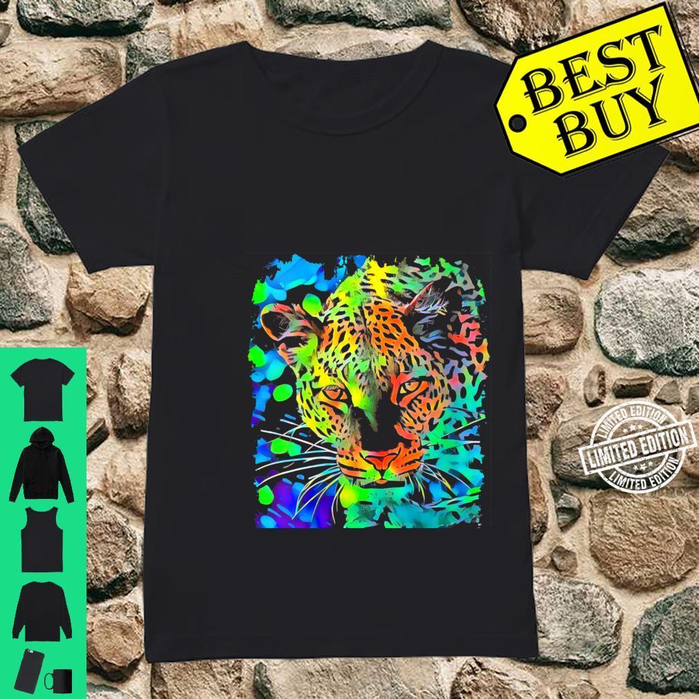 Womens Leopard Face Pop Art Shirt ladies tee