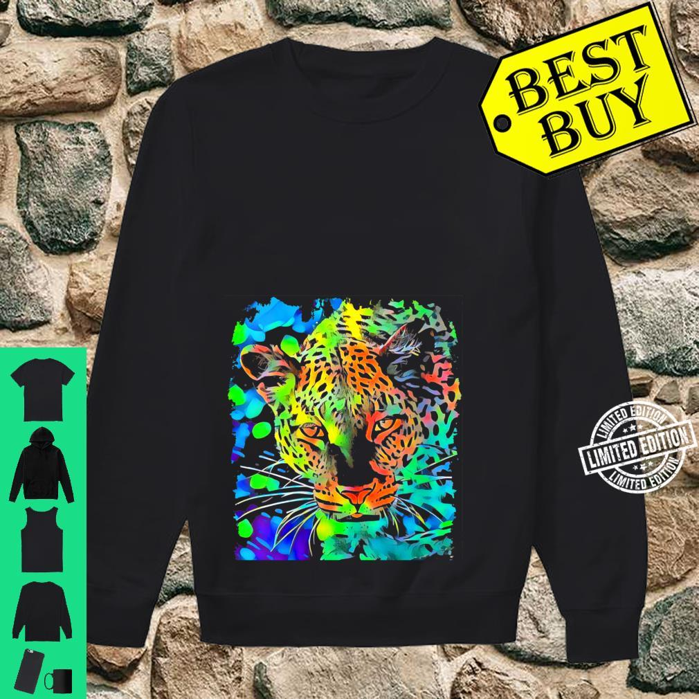 Womens Leopard Face Pop Art Shirt sweater