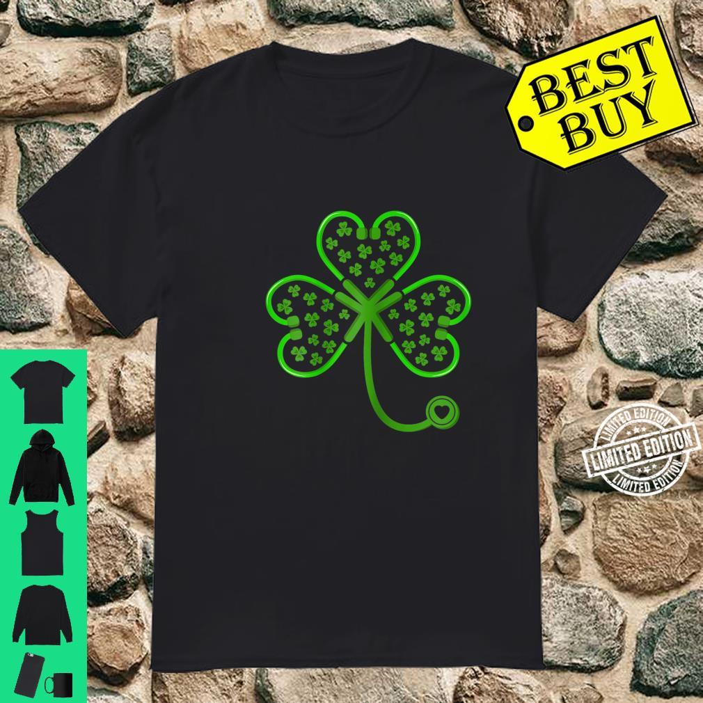 Womens Shamrock Stethoscope Nurse St Patricks Day Lucky Shirt