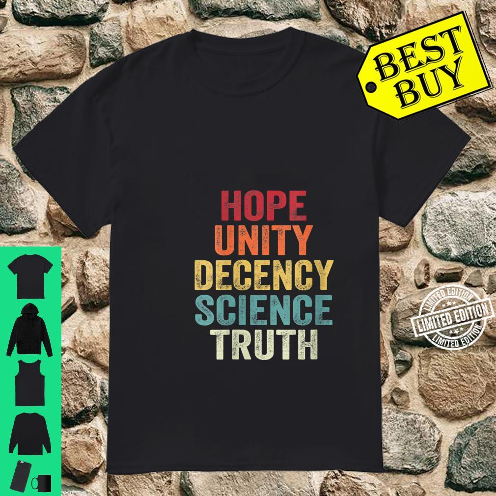Womens UNITY DECENCY SCIENCE TRUTH Shirt